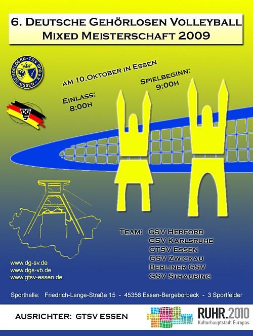 Plakat der dt.Mixedmeisterschaften der Gehörlosen in Essen